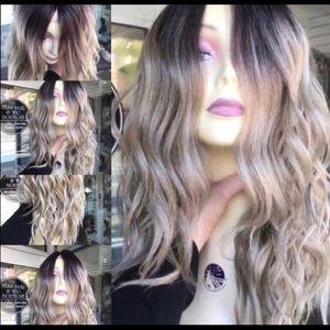 Accessories - Wig Ash Blonde Human hair Blende Wavy Ombré Wig